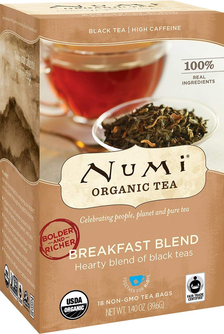 Numi Organic Tea Fair Trade Breakfast Blend - Morning Rise - Full Leaf Black Tea in Teabags, 18-Count Box (Pack of 6)