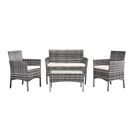 Sanmey PananaHome - Juego de Muebles de jardín de ratán, para Interior y Exterior, 4 Piezas, Juego de Mesa y sofá, Mixed Grey