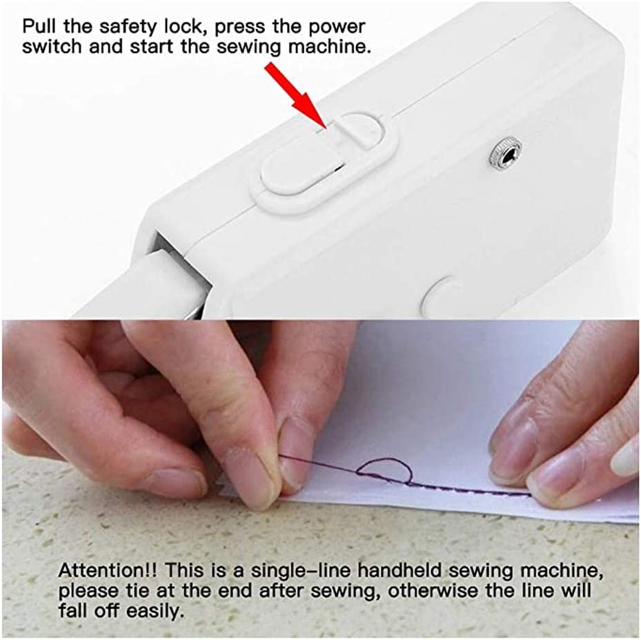 White, Kit Hand Sewing Machine Mini Hand-held Cordless Portable Sewing Machine Quick Repairing Suitable for for Kids//Beginners to Quick Handy Stitch
