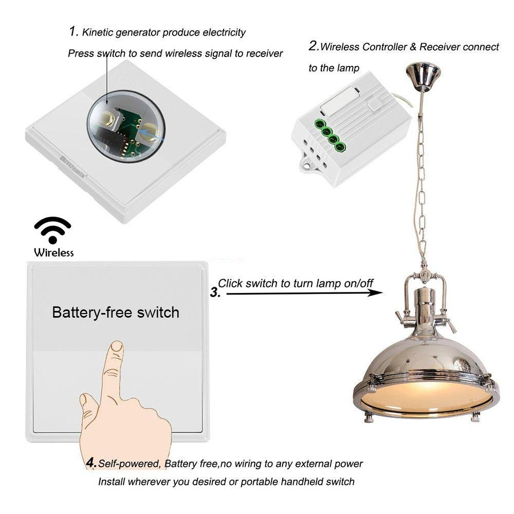 Wireless Light Switch, Self-powered Kinetic Wall Switch/ Transmitter, No  Wiring No Battery No WiFi Required, Work with Receiver to Remote Control  House ...