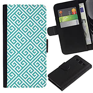 KingStore / Leather Etui en cuir / Samsung Galaxy S3 III I9300 / Azul Blanco Wallpaper Forma