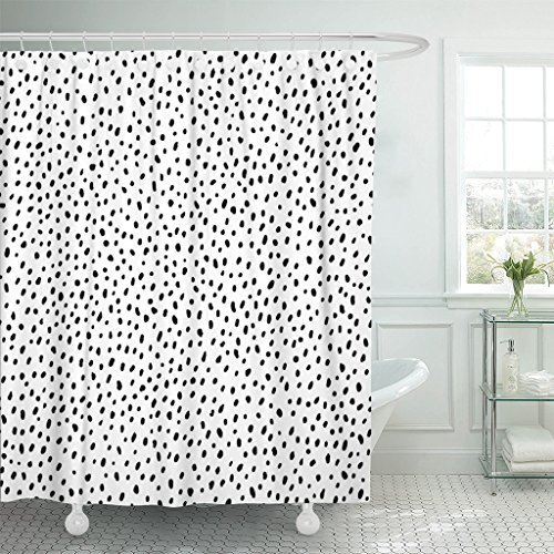 (TOMPOP Shower Curtain Polka Dot Simple Structure Abstract Many Scattered Pieces Black Waterproof Polyester Fabric 72 x 72 Inches Set with Hooks)