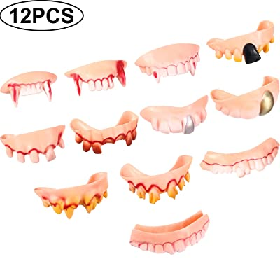 12 Pieces Gnarly Teeth Gag Teeth Ugly Fake Teeth Bob Teeth Vampire Denture Teeth for Halloween Costume Party Favors 12 Styles (Color B): Toys & Games