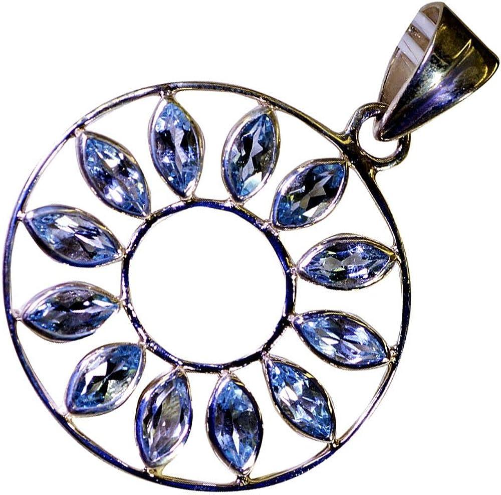 CaratYogi Sterling Silver Genuine Marquise Cut Blue Topaz Pendant Handmade Charm December Birthstone
