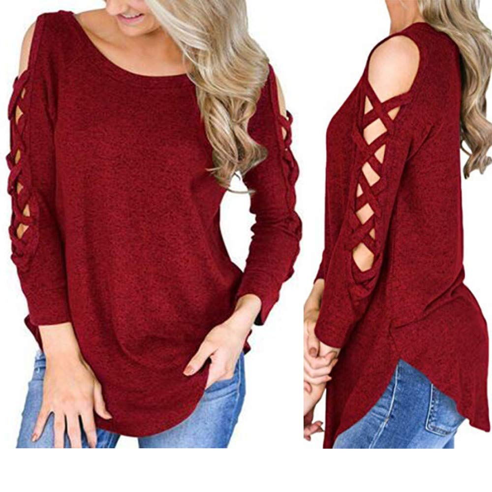 Amazon.com: Sale! Teresamoon Women Long Sleeve Strappy Cold Shoulder Solid T-Shirt Tops Blouses: Clothing