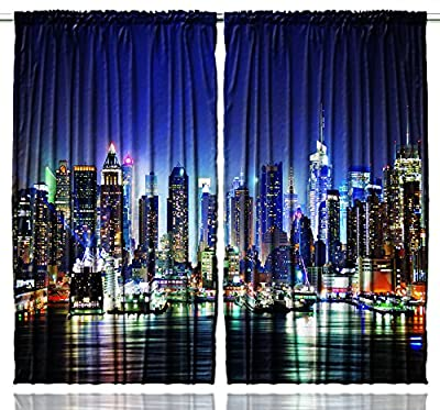New York City Manhattan Skyline At Night - Bedroom Living Room / Kids / Youth Room Curtain Panels - One of a Kind - 2 Panels - Machine Washable