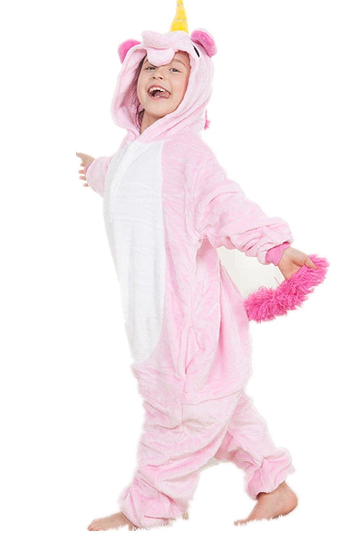8fc3d0a90e820 Kenmont Déguisement Combinaison Licorne Pyjama Grenouillère Enfants Animal  Pyjamas Costume à capuche Halloween Carnaval Noël Fête Tenue