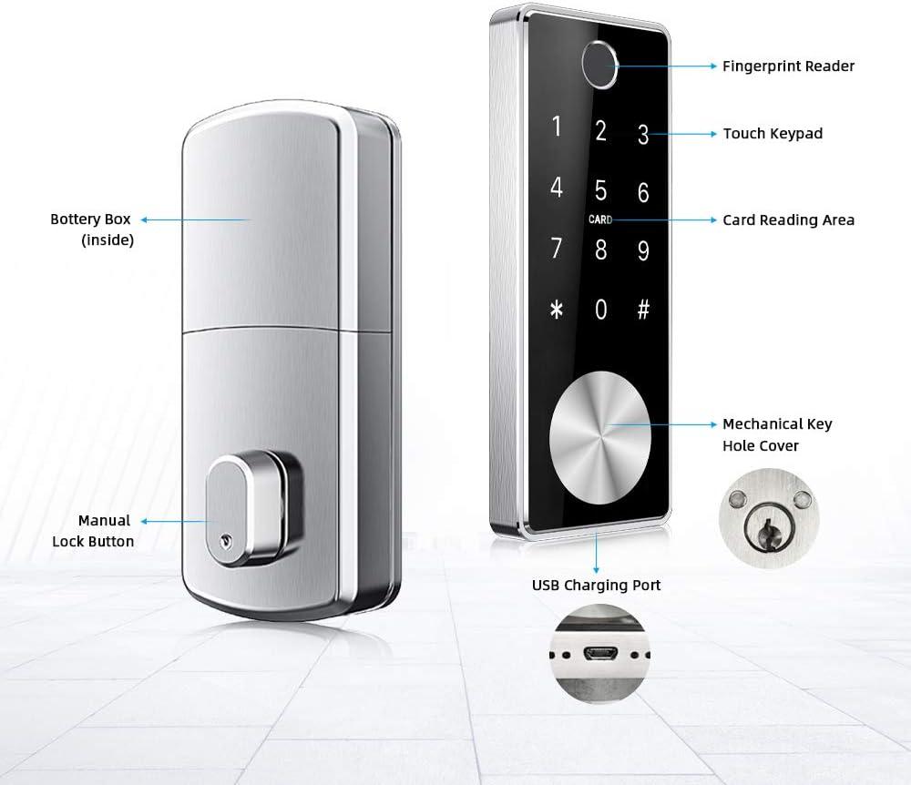 Key Smart Lock Front Door Bluetooth Smart Deadbolt Lock WiFi Keypad RFID Card Reader App