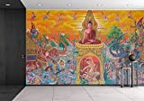 wall26 - Art Thai, Mural Mythology Buddhist Religion on Wall in Wat Neramit Vipasama, Dansai, Loei, Thailand - Removable Wall Mural | Self-adhesive Large Wallpaper - 66x96 inches