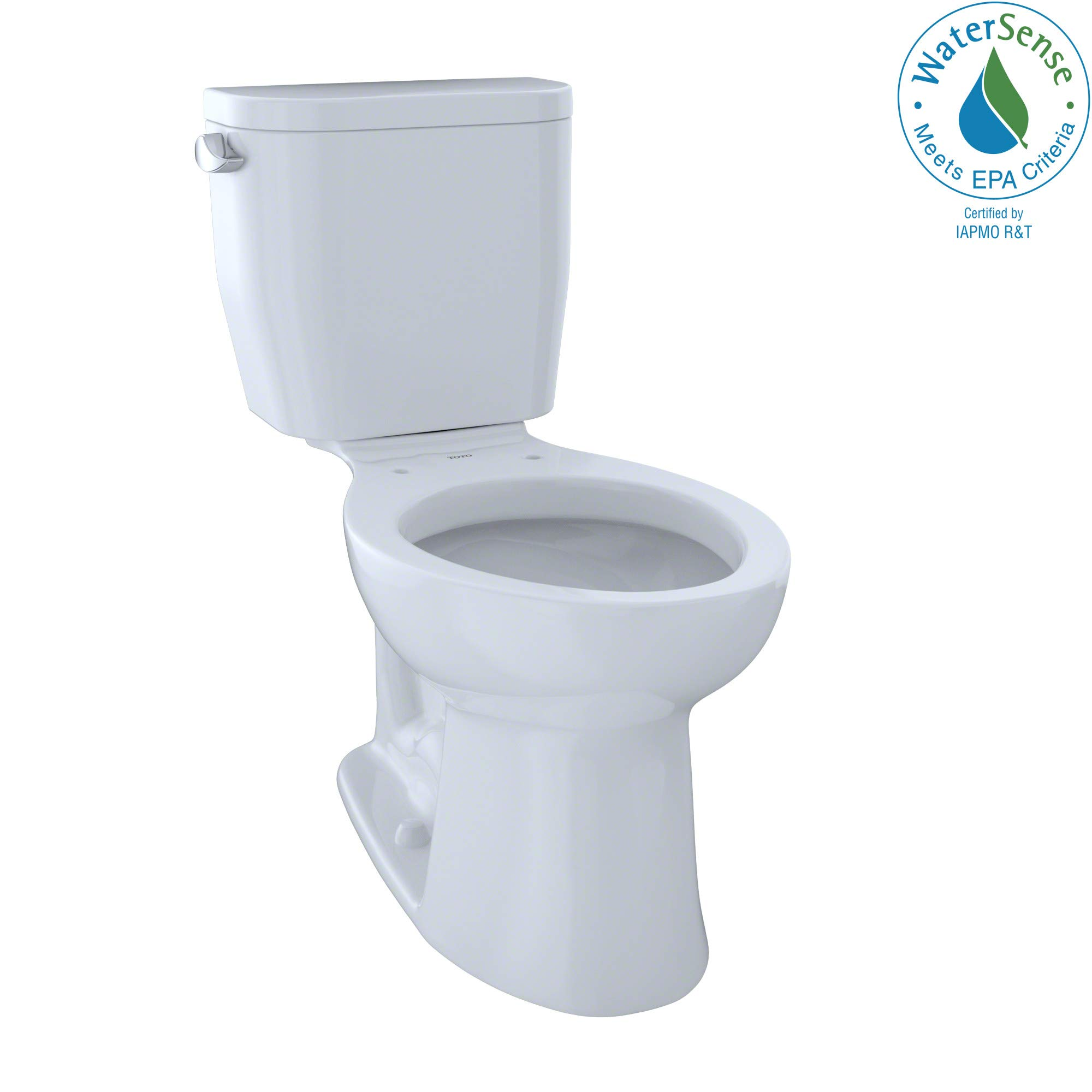TOTO CST244EF#01 Entrada Two-Piece Elongated 1.28 GPF Universal Height Toilet, Cotton White by TOTO