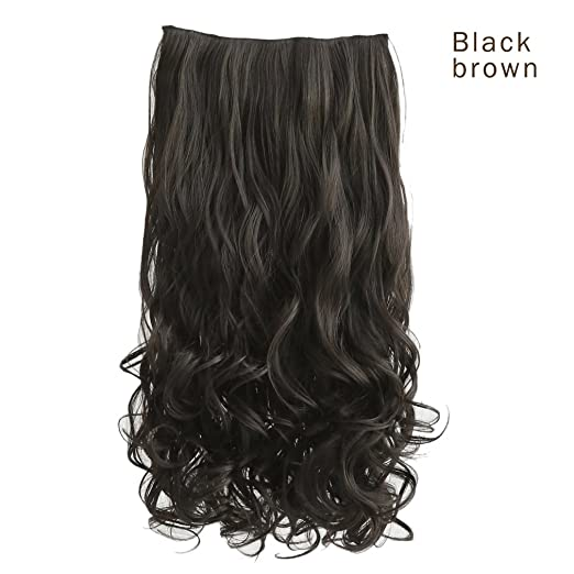 REECHO 20-inch full head curly and wavy clip-in hair extensions in black color