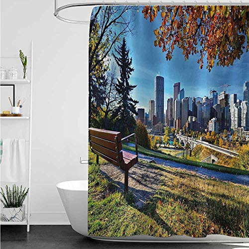Home Decor Shower Curtain,City Park Bench Overlooking The Skyline of Calgary Alberta During Autumn Tranquil Urban,Shower Curtains in Bath,W94x72L,Multicolor]()