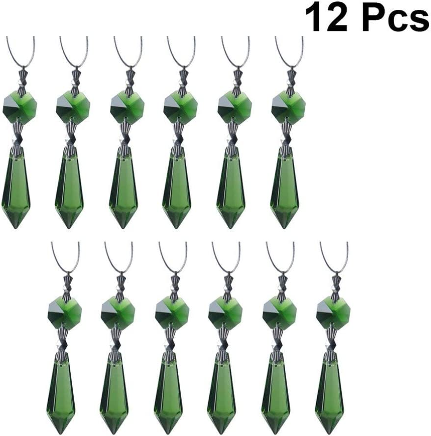 Blue Blue Crystal Glass Chandelier Prisms Pendant Rainbow Maker Hanging Suncatcher for Wedding Party Christmas Yardwe 12PCS Chandelier Icicle Crystal