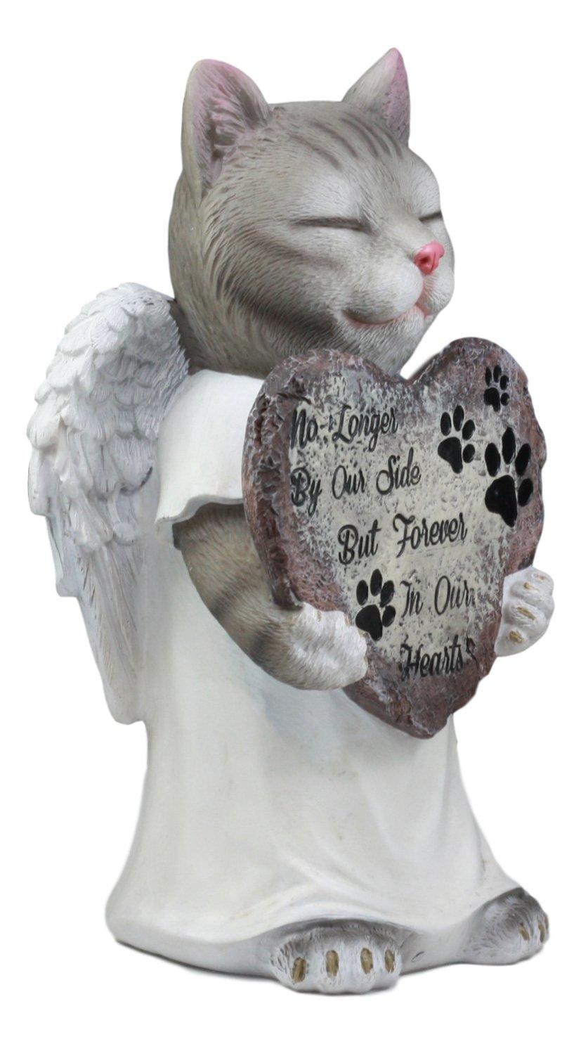 Ebros Celestial Angel Grey Cat in White Tunic Robe Pet Memorial Figurine Inspirational Decorative Feline American Shorthair Cat Kitten Sculpture