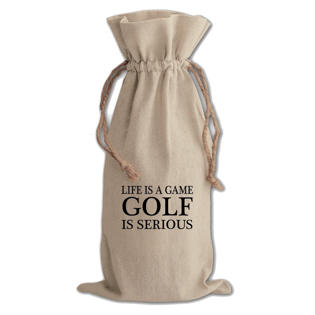 Life Is A Game Golf Is Serious Cotton Canvas Wine Bag, Cotton Drawstring