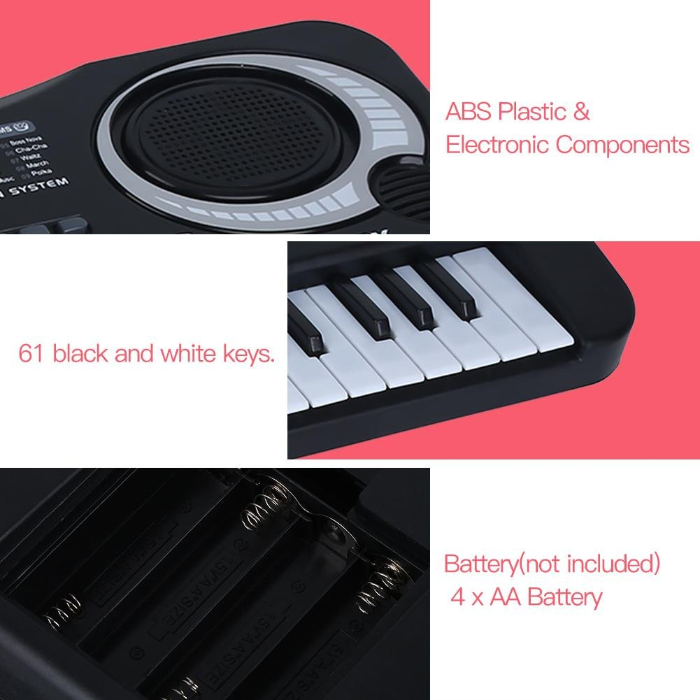 lyrlody Electronic Piano 61 Key Electric Digital Keyboard Piano with Microphone Portable Musical Instruments Toy for Adults Kids Children Boy Girl by lyrlody (Image #4)