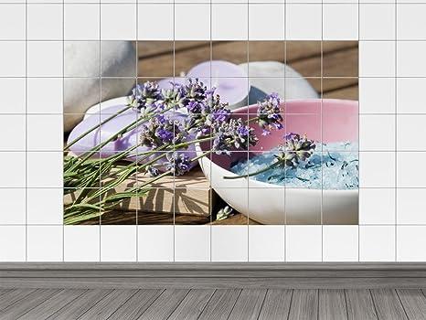 Adesivi per piastrelle mattonelle bild rami di lavanda e sali da