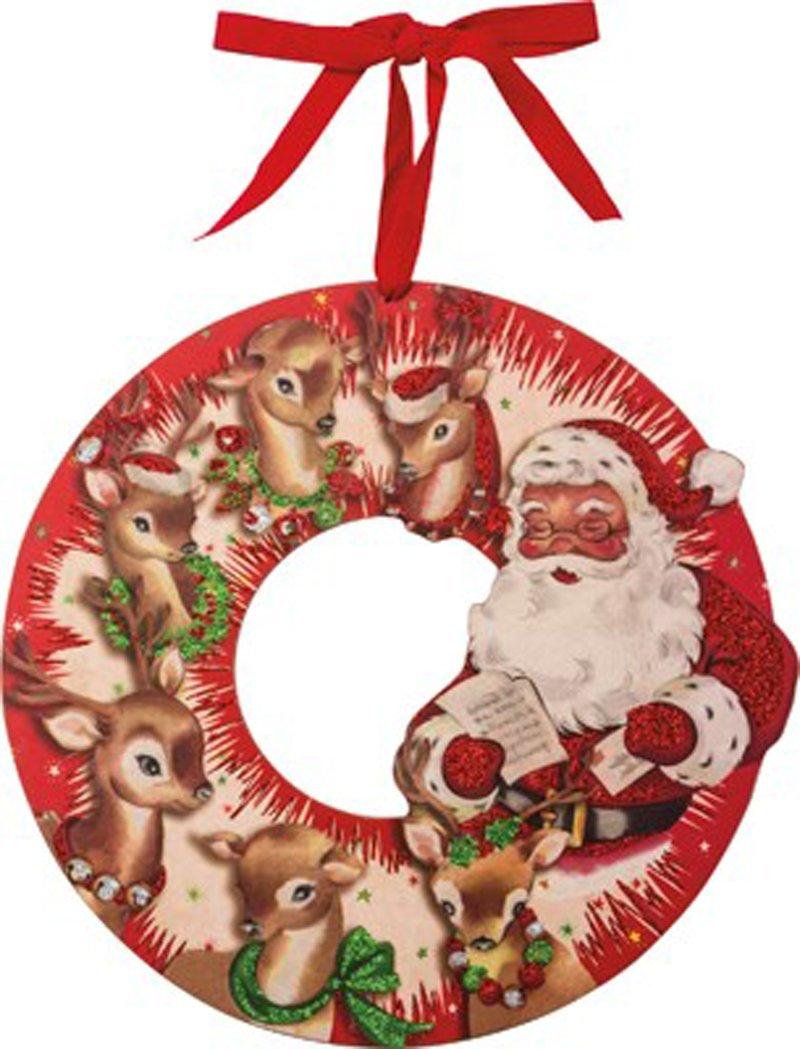 Primitives by Kathy Vintage Wooden Wreath Vintage Santa and Reindeer