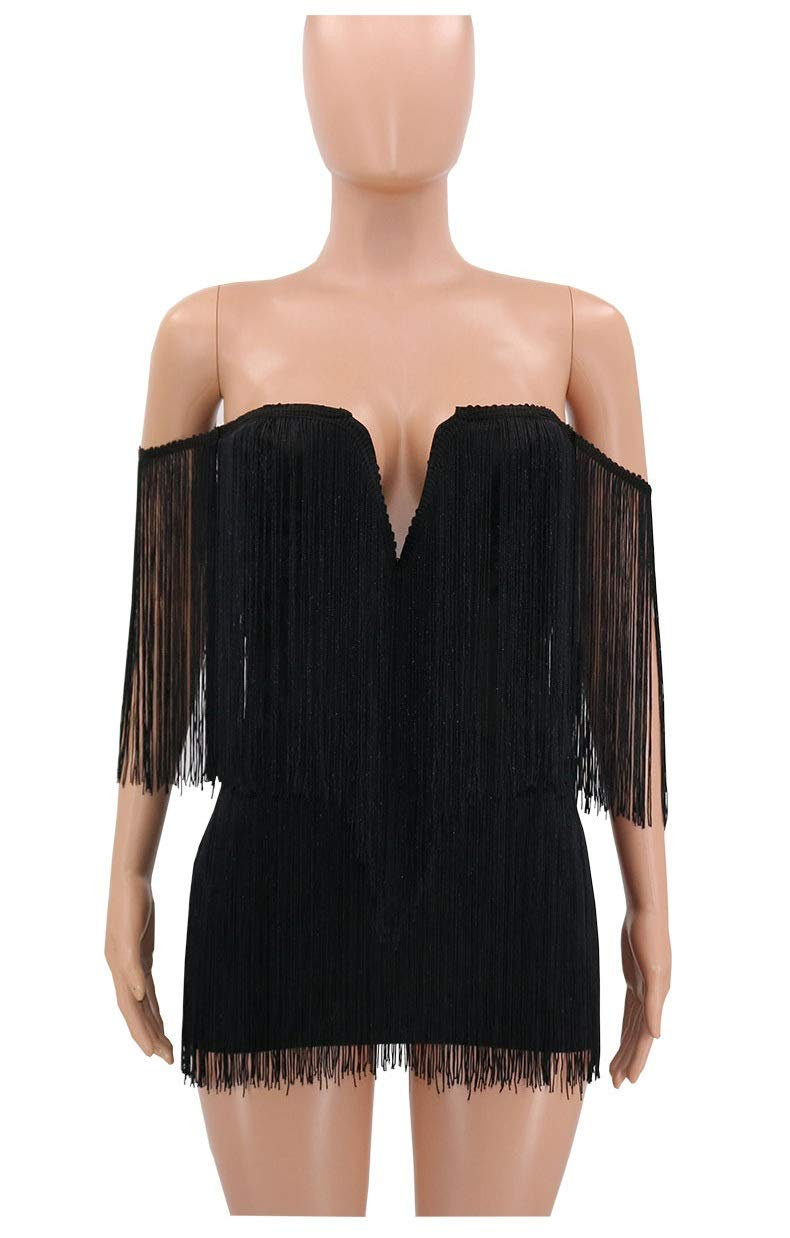 Black CARRY Dress, Nightclub Strapless Skirt Sexy Fringed Wrapped Chest Hip Dress (color   Black, Size   M)