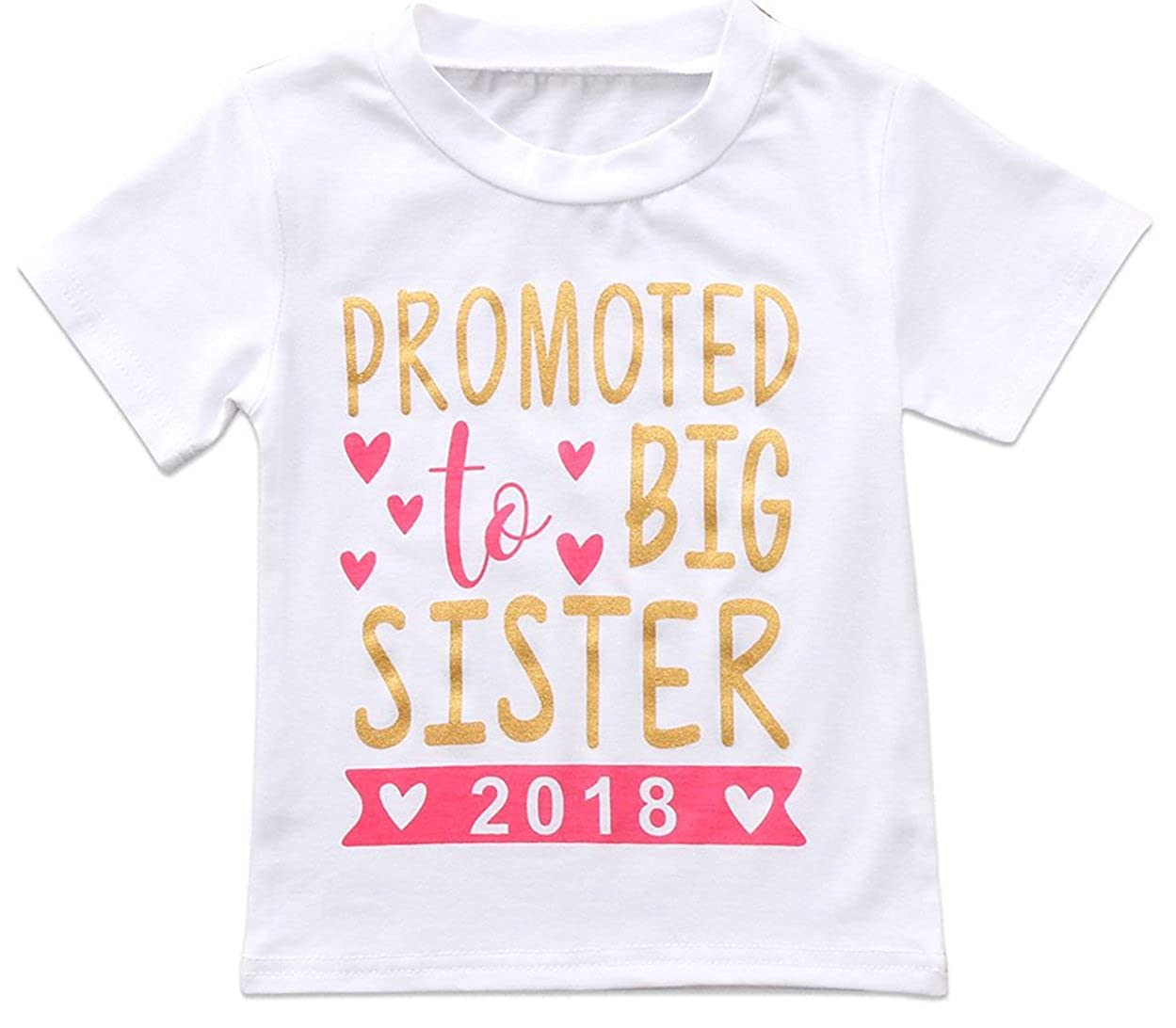 2018 2019 Baby Girl Clothes Outfit Big Sister Letter Print T-Shirt Top Blouse Shirts