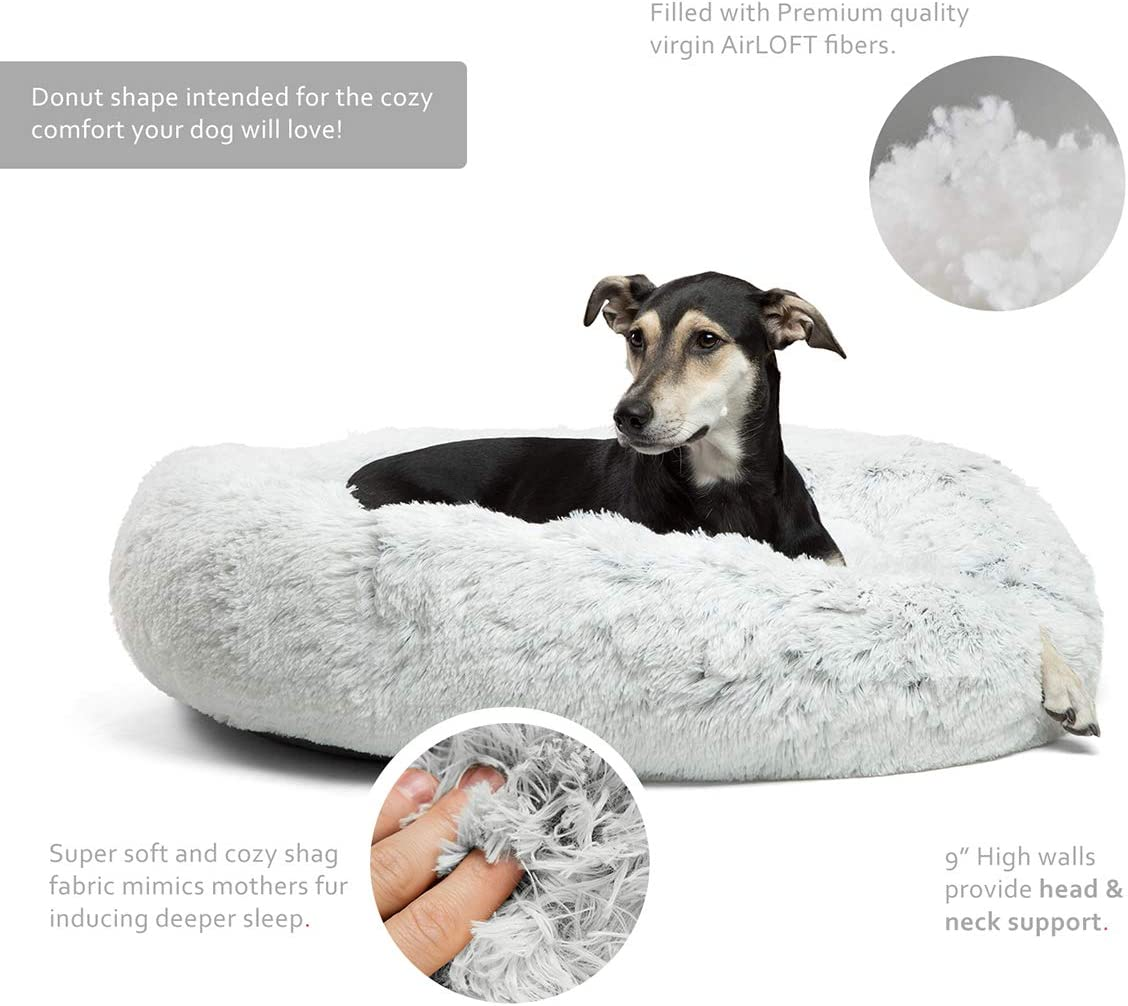 Best Friends by Sheri Calming Shag Vegan Fur Donut Cuddler (23x23 Small - Frost), Cat and Dog Bed, Self Warming and Cozy for Improved Sleep, Machine Washable for Pets Up to 25 lbs. : Pet Supplies