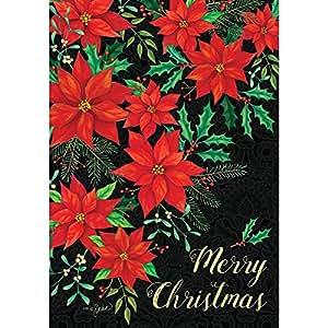 Pascua de Navidad–feliz Navidad–jardín–impreso en Estados Unidos de bandera de doble cara decorativa de tamaño, de 12pulgadas x 18pulgadas, autor y con licencia, marca por Decoración personalizada Inc.