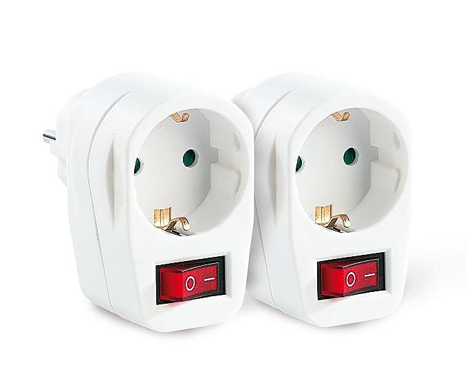 reVolt - Juego de 2 enchufes adaptadores con interruptor (clavija ...