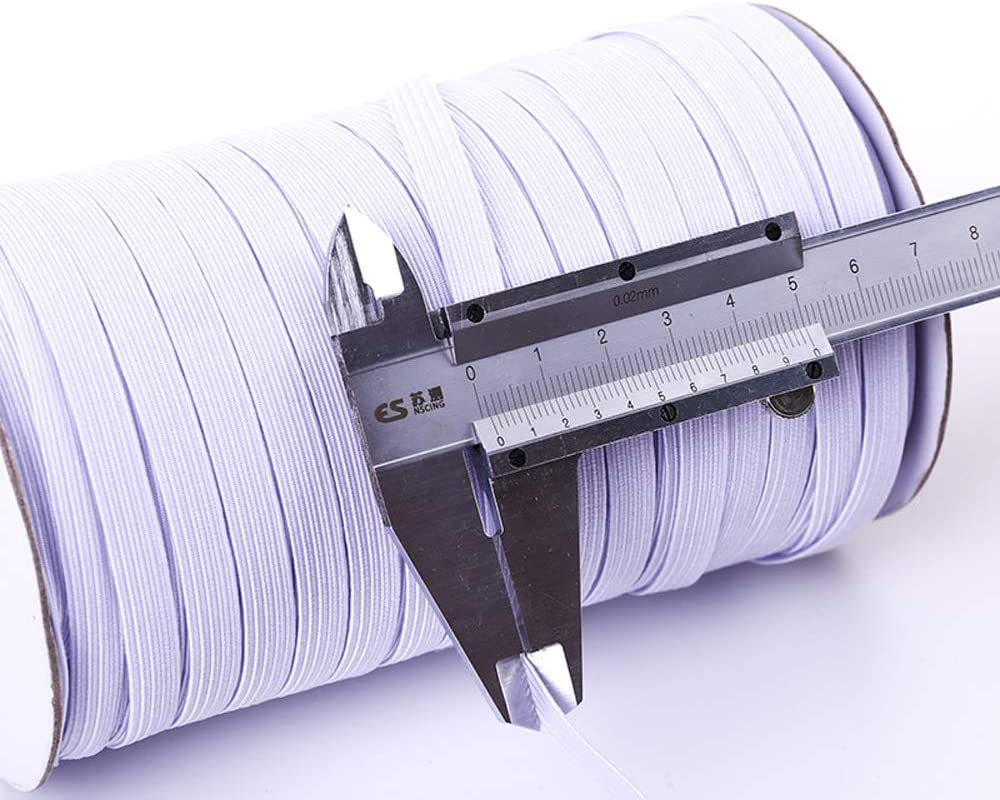 100 Yards Length 1//4 Inch Width Briaded Elastic Band Elastic Rope White Heavy Stretch Knit Elastic Spool