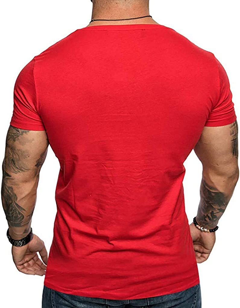 ZOMUSAR Blouse for Men New Mens Christmas Fashion Skull Print Short Sleeve Top Casual Comfortable Top