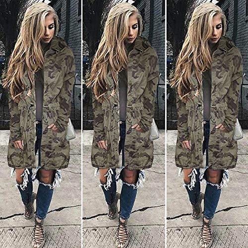 Di Eleganti Armygreen Mantello Vintage Outerwear Stampate Fit Lunga Cappuccio Invernali Con Giacca Slim Camuffare Manica Donna Semplice Glamorous Coulisse Moda Giaccone Casuale Autunno qawIxgBdn
