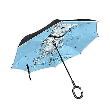 FOLPPLY Paraguas invertido para Gato, Doble Capa, Resistente al Agua para Coche Lluvia al