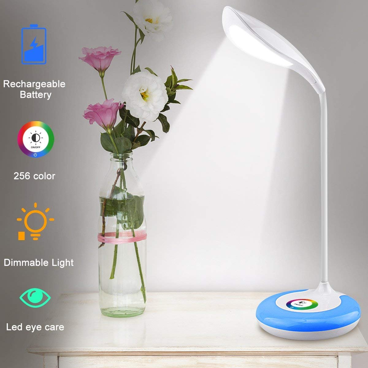 LED Desk Lamp,Desk Light Color Light Led Desk Reading Lights Led Table Lamps for Home Office With Wireless Touch Control Flexible Gooseneck 256 Color Changing Base and 3 Brightness Levels