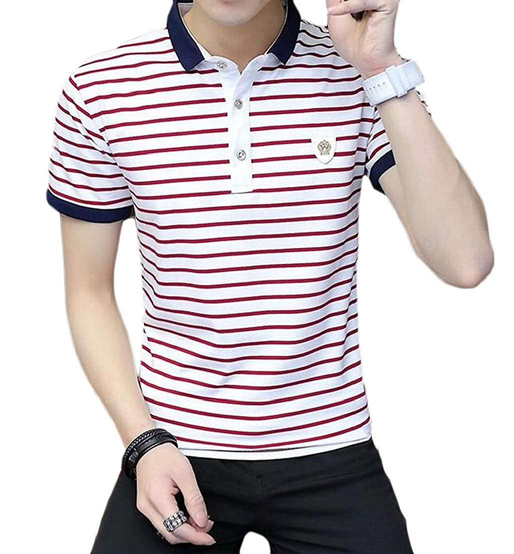 UUYUK Men Striped Basic Short Sleeve Business Color Block Polo Shirts