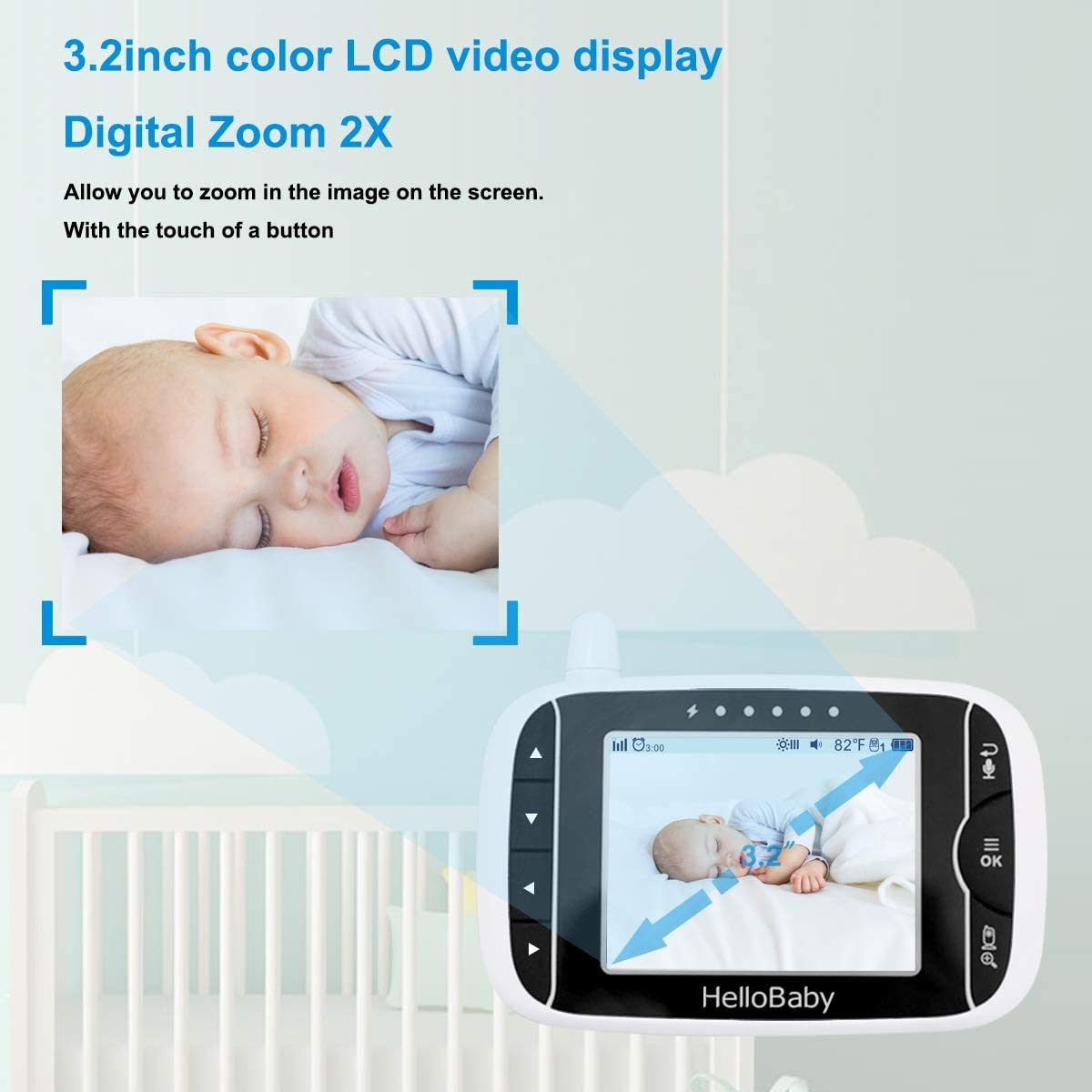 Video Baby Monitor with Camera and Audio Two Way Audio and VOX Mode Temperature Display Infrared Night Vision 5 Color LCD Screen HelloBaby Monitor Camera Lullaby