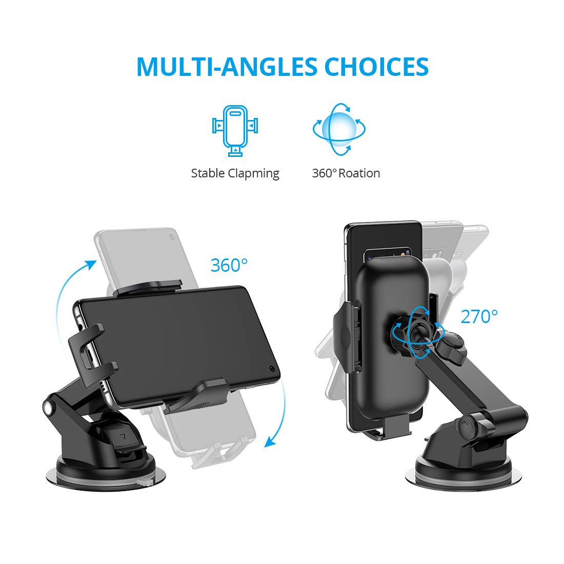 Universal Car Phone Mount VICSEED Car Phone Holder for Car Dashboard Windshield Air Vent Adjustable Long Arm Strong Suction Cell Phone Car Mount Fit for iPhone X XS Max XR 8 Plus Samsung Galaxy S10 S9