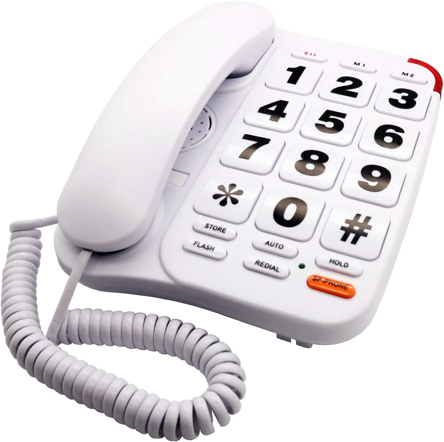 KerLiTar K-P046W Amplified Phones for Seniors with Extra Large Buttons Telephones Landline Corded Phones for Elderly with Loud Speakerphone SOS Emergency Speed Dial Wall Phones