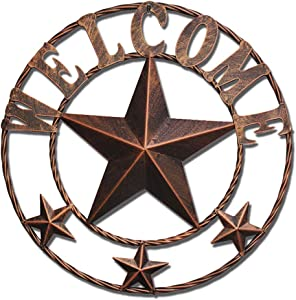 WIPHANY Texas Metal Barn Star Vintage Country Western Home Décor Welcome Wall Sign