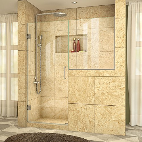 DreamLine Unidoor Plus 58-58 1/2 in. Width, Frameless Hinged Shower Door, 3/8