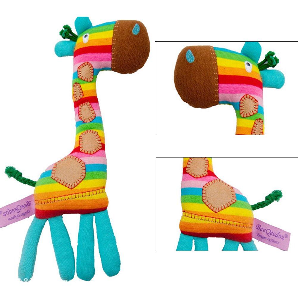 nakw88 Baby Rattle Tony Lvee Washable Cute Ring Bell Rainbow