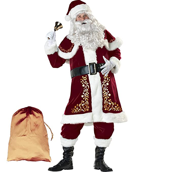 ELFJOY Adult Santa Claus Christmas Suit Costume with Beard & Hair 12 Pcs Set for Party Cosplay