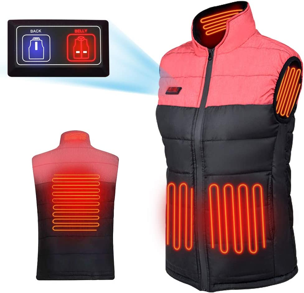 3 Stalls Adjustable Temperature Washable Heated Men Vest WANFEI Electric Heated Vest USB Charging Heated Gilet Jacket Warm Waistcoat Ladies for Outdoor Camping Hiking Self-driving Skiing Riding
