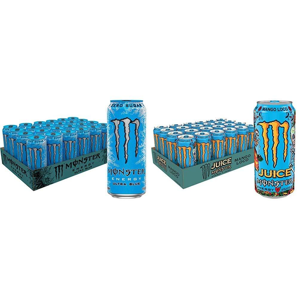 Monster Energy Ultra Blue, Sugar Free Energy Drink, 16 Ounce (Pack of 24) & Juice Monster Mango Loco, Energy + Juice, Energy Drink, 16 Ounce (Pack of 24)