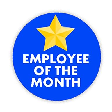 employee of the month blue button badge 58mm pin back lapel