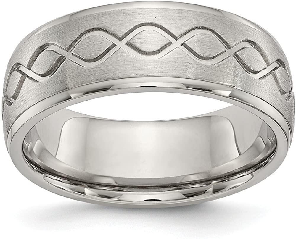 Stainless Steel Scroll Design Brushed /& Polished 8mm Ridged Edge Band Size 8 Length Width 8