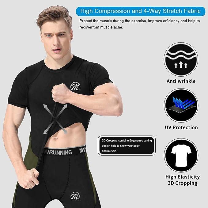 Manches Courtes T-Shirt Compression avec 3//4 Legging/Sport Collant S/échage Rapide pour Jogging Workout Sportswear MEETWEE V/êtements de Sport Homme