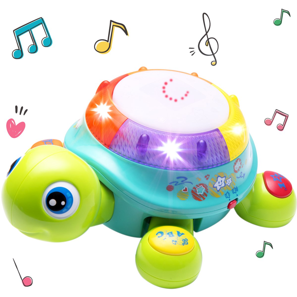 Musical Turtle Toy, Electronic Toys, English N Spanish Learning, Lights N Sound, Early Development, Educational Gift for Ages 6, 7, 8, 9, 10, 11, 12 Months Up Infant, Baby, Toddlers, Boys, Girls, Kids