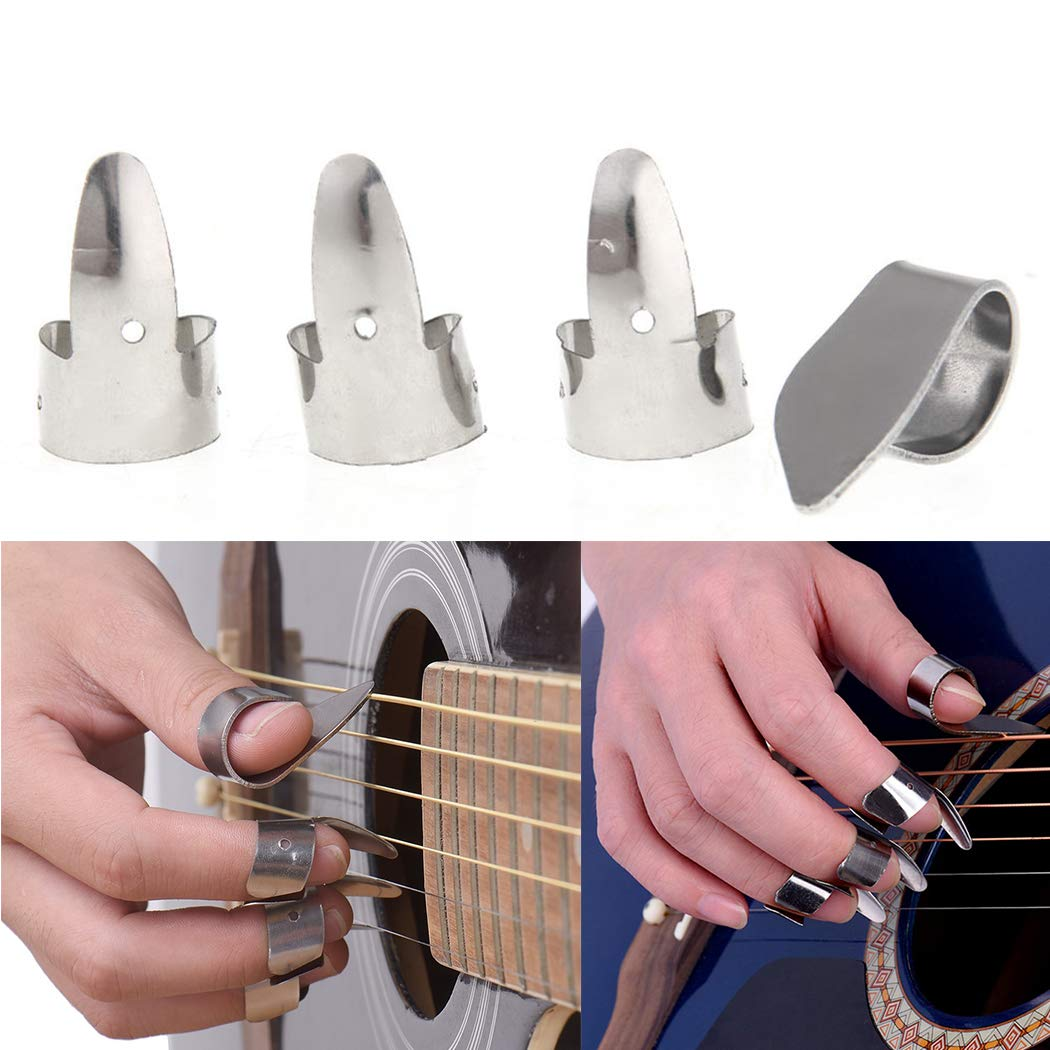 6pcs Stainless Steel Plectrum Thumb Finger Picks for Guitar Bass Instruments