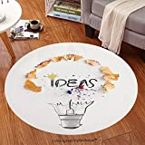 Sophiehome Soft Carpet 179821799 hand drawn light bulb word design IDEA with pencil saw dust on paper background as creative concept Anti-skid Carpet Round 24 inches