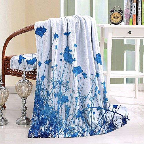 Northwest Fleece Cleveland Indians Blanket (HAIXIA Blanket Silhouette of Summer Wildflowers Blooms Grass Garden Foliage Blue White)