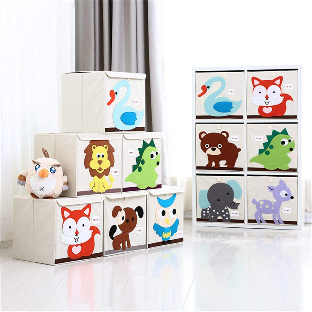 VADOLY 3D Embroider Cartoon Animal Foldable Kid Toy Organizer Clothes Storage Bin for Socks Underwear Ties Bra Desktop Box by VADOLY (Image #3)